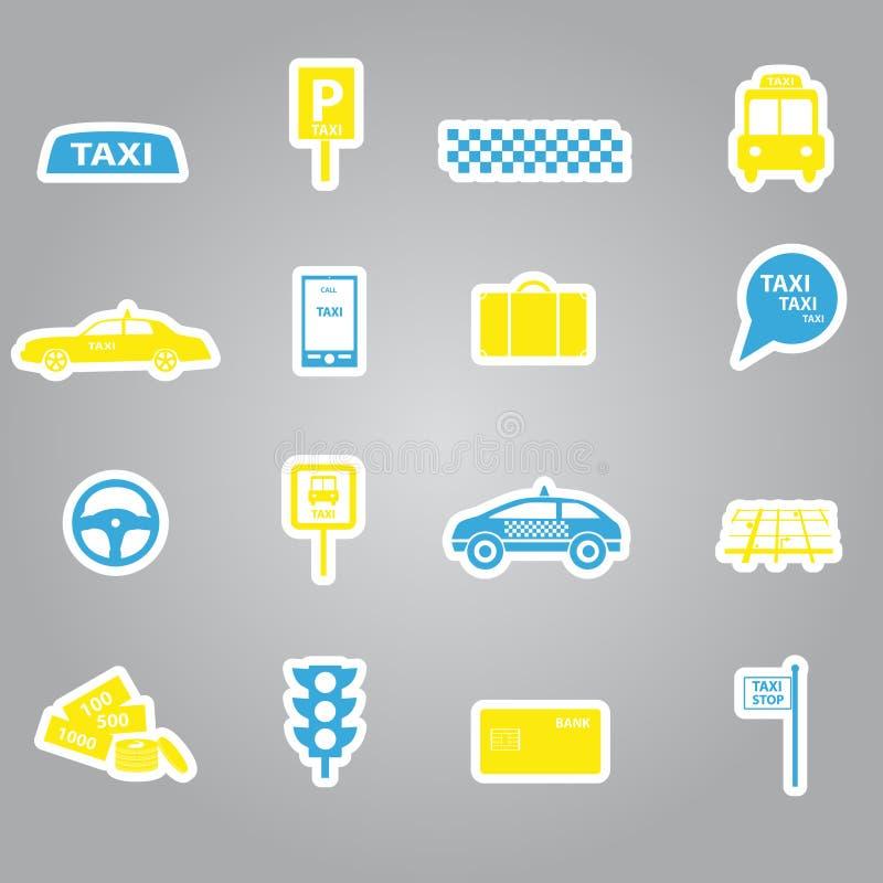 Taxiklistermärkear fastställd eps10 stock illustrationer