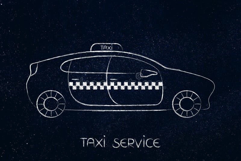 Taximedelbil med överskrift vektor illustrationer