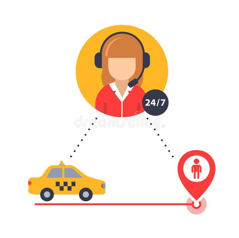 Taxioperat?ren hj?lper att finna en klienttaxichauff?r vektorsymbol f?r aff?r vektor illustrationer