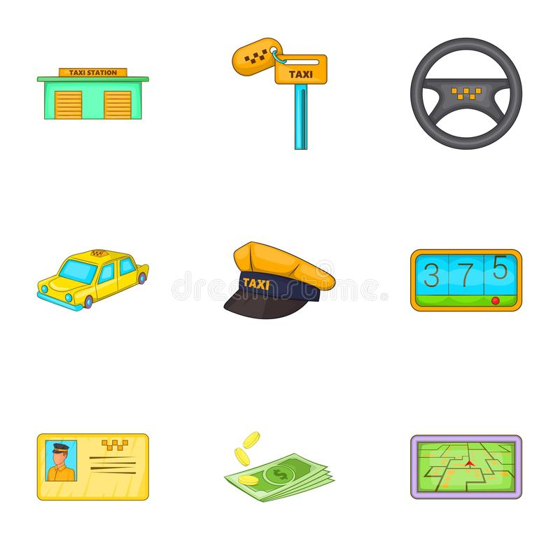 Taxireiseikonen eingestellt, Karikaturart vektor abbildung