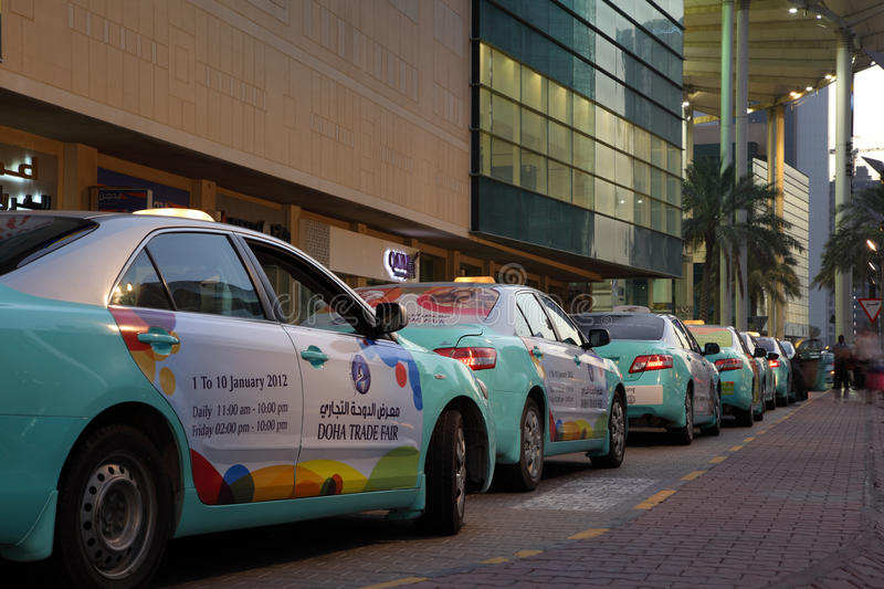 Taxis in Doha, Qatar royalty free stock image
