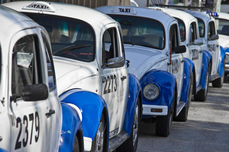 Taxis in down town of acapulco stock photo