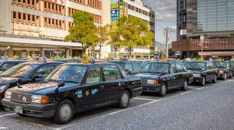 Taxis en el centro de Hiroshima, Japón fotos de archivo libres de regalías