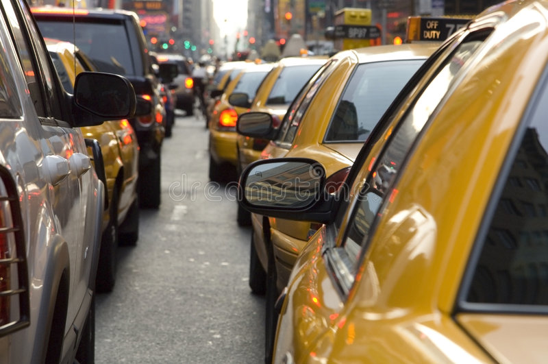 Taxis in New York waiting in traffic stock images