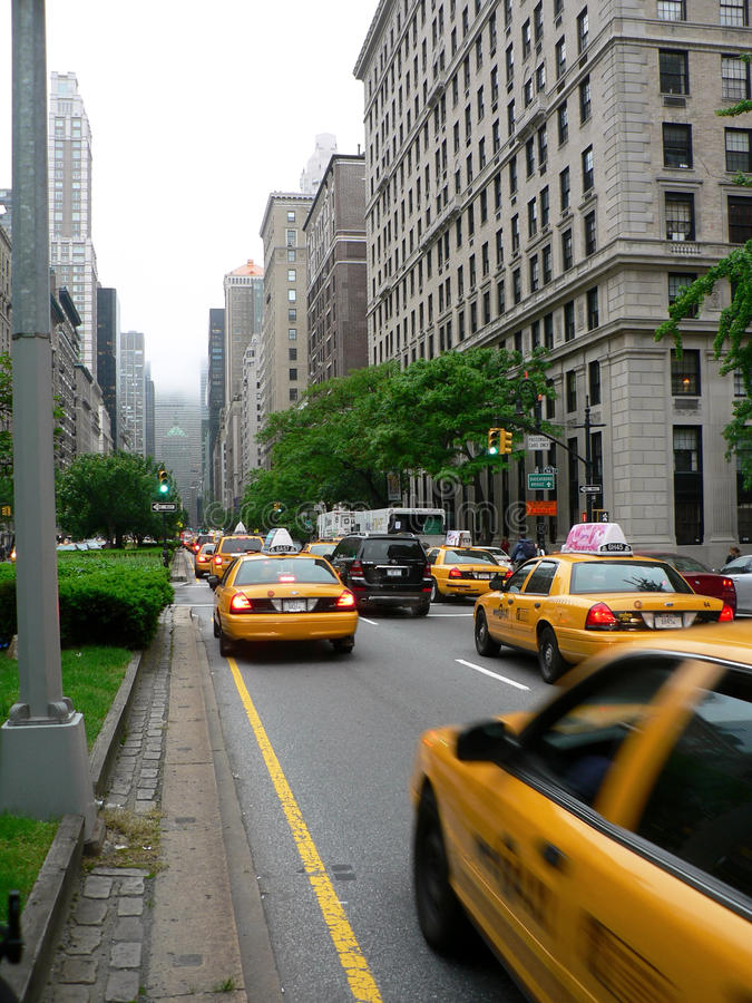 Taxis On Park Avenue Editorial Stock Photo