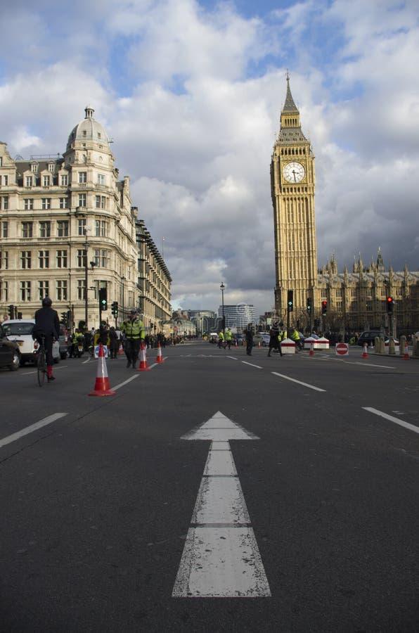 Taxis que protestan contra Uber fotografía de archivo libre de regalías