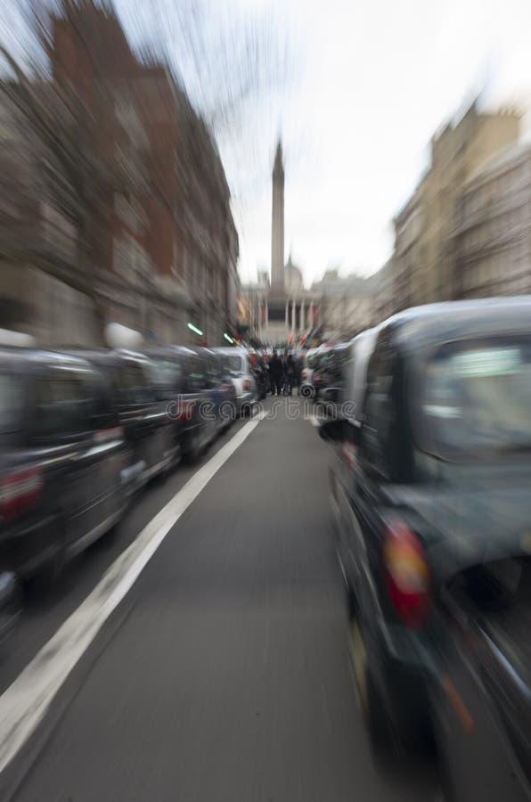 Taxis que protestan contra Uber imágenes de archivo libres de regalías