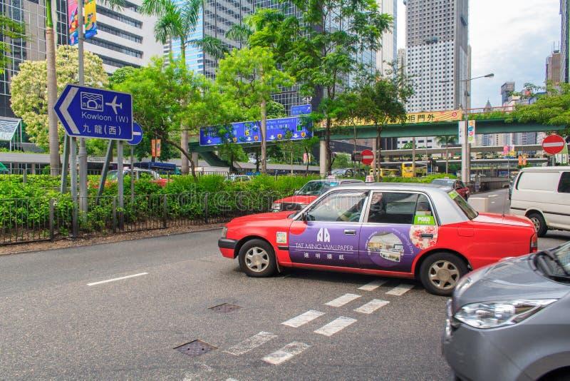 Taxis sur la rue en Hong Kong Plus de transport en commun d'utilisation quotidienne de voyageurs de 90% Son le rang le plus élevé image stock