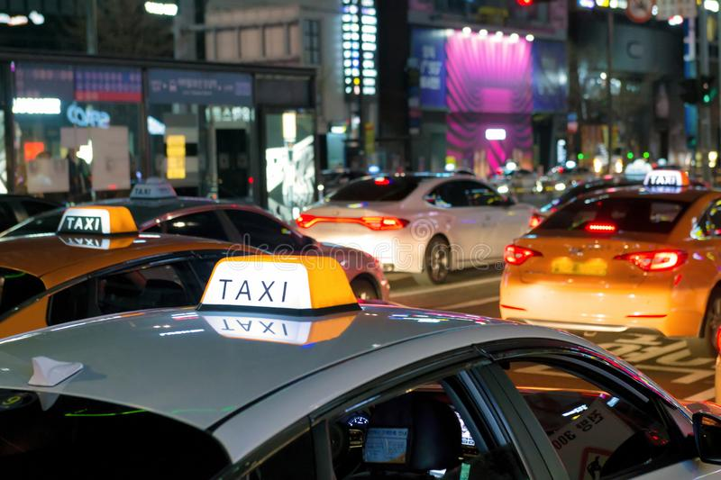 Taxis waiting for customers royalty free stock photo