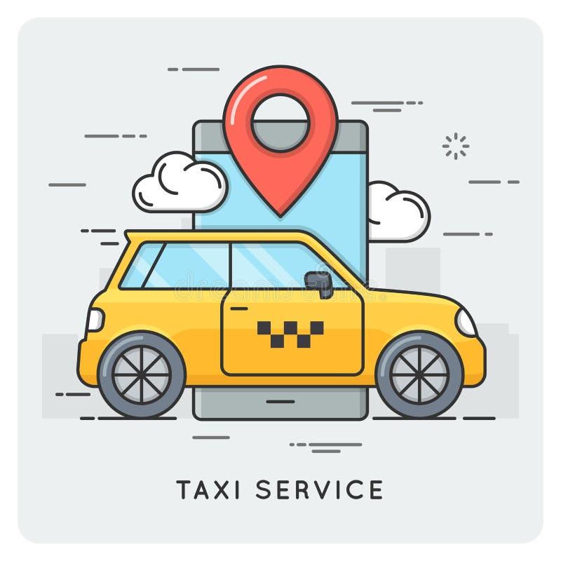 Taxiservice Dünne Linie Konzept stock abbildung