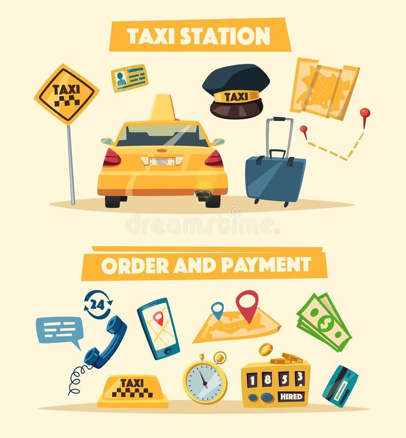 Taxiservice den främmande tecknad filmkatten flyr illustrationtakvektorn royaltyfri illustrationer