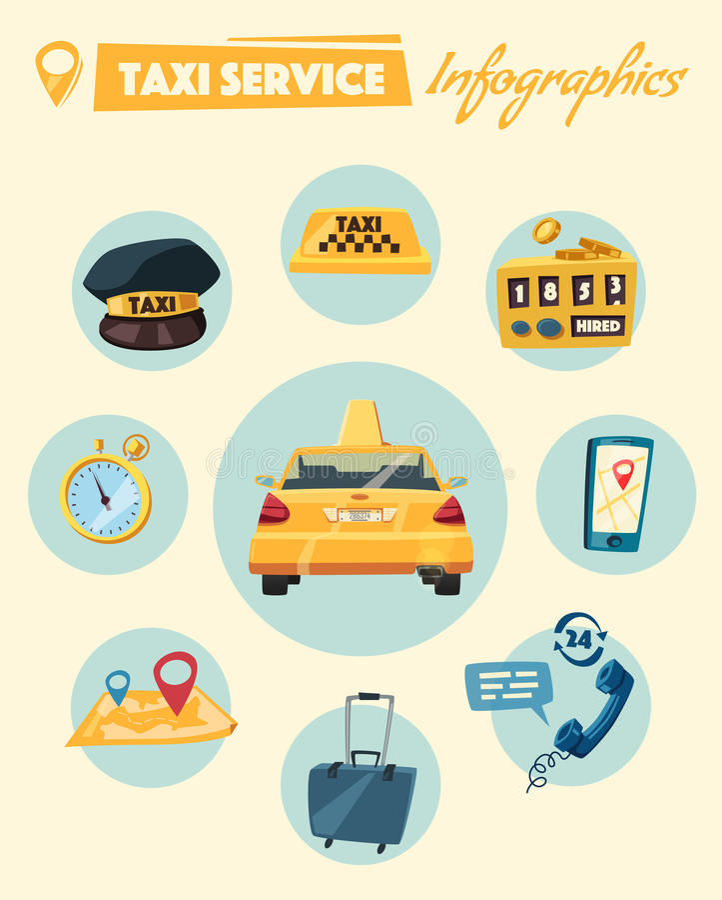 Taxiservice den främmande tecknad filmkatten flyr illustrationtakvektorn stock illustrationer