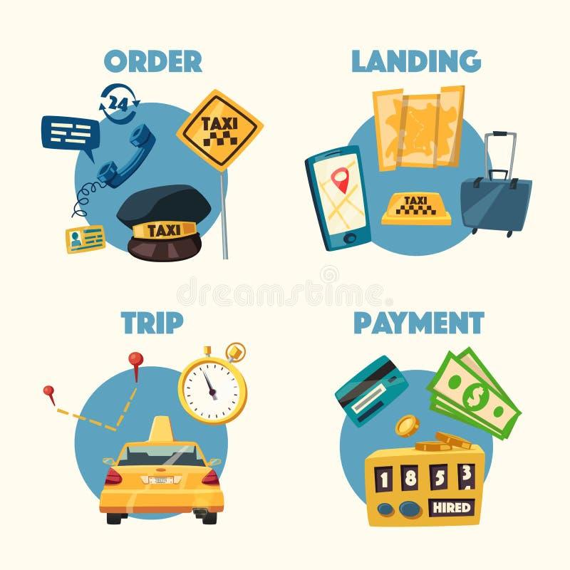 Taxiservice den främmande tecknad filmkatten flyr illustrationtakvektorn Tur och betalning royaltyfri illustrationer