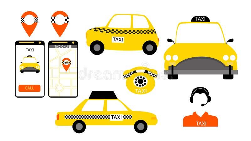 Taxiservice undertecknar in vektorn royaltyfri illustrationer