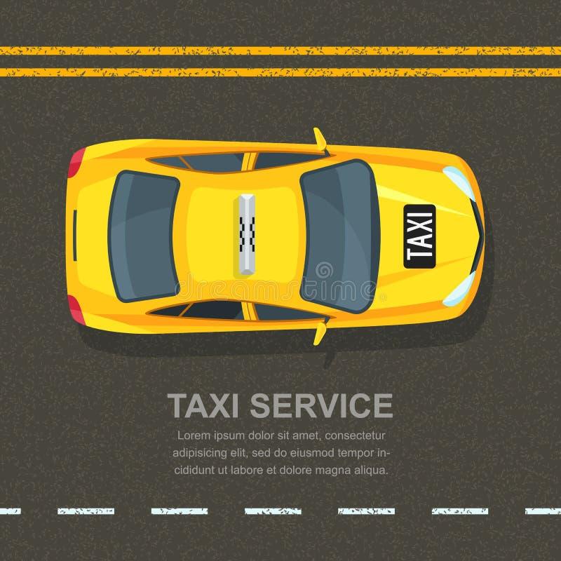 Taxiservicekonzept Vector Fahnen-, Plakat- oder Fliegerhintergrundschablone Gelbes Fahrerhaus des Taxis auf Asphaltstraßehintergr lizenzfreie abbildung