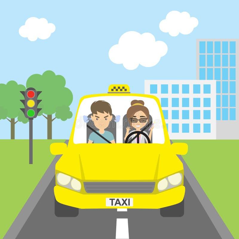 Taxista con el pasajero ilustración del vector. Ilustración de ...