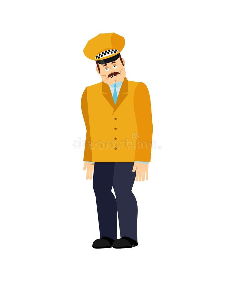 Taxista triste Cabbie doloroso Motorista de taxi maçante Ilustra??o do vetor ilustração do vetor