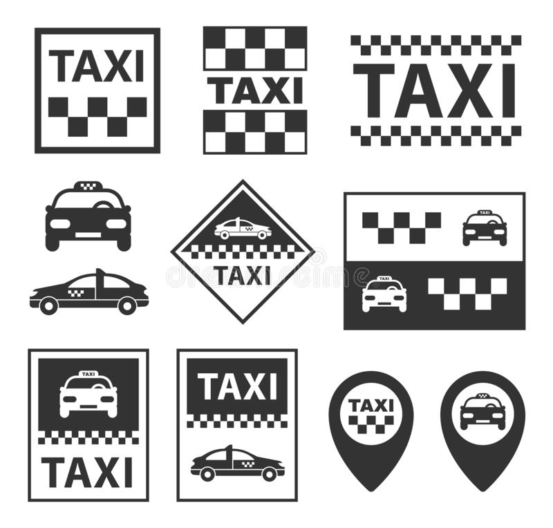 Taxisymboler, taxiservicetecken ställde in i vektor vektor illustrationer