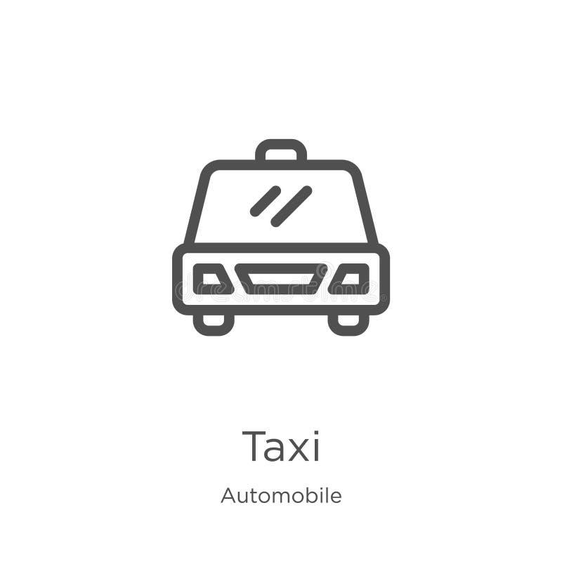 taxisymbolsvektor från bilsamling Tunn linje illustration f?r vektor f?r taxi?versiktssymbol Översikt tunn linje taxisymbol för vektor illustrationer