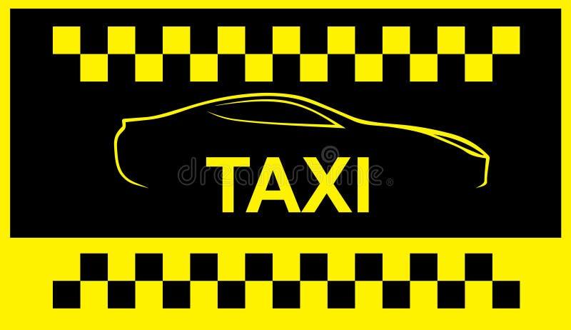 Taxisymbool, en auto op de achtergrond vector illustratie
