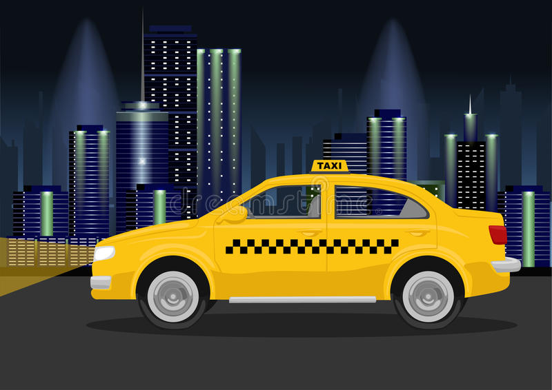 Taxitaxi av nattstaden stock illustrationer