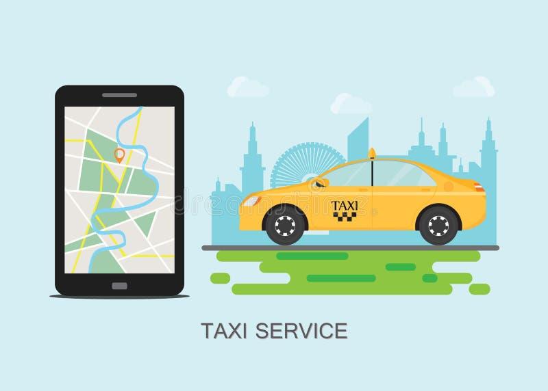Taxitaxi och mobiltelefon med översikten på stadsbakgrund royaltyfri illustrationer