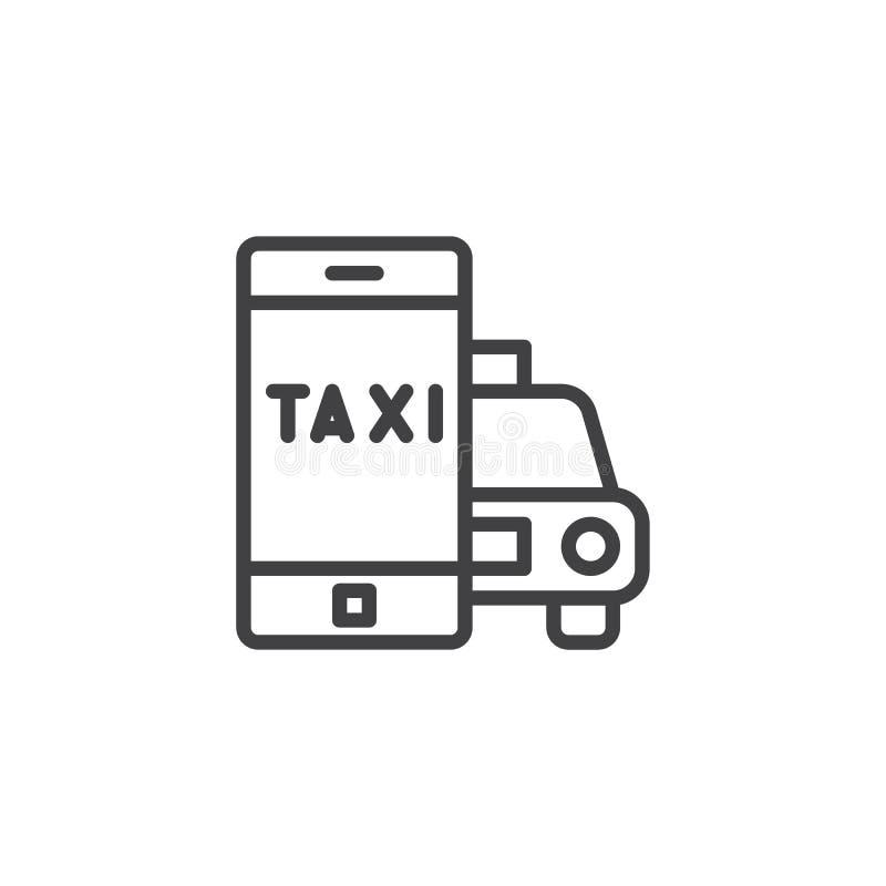 Taxitaxi som beställer applinjen symbol stock illustrationer