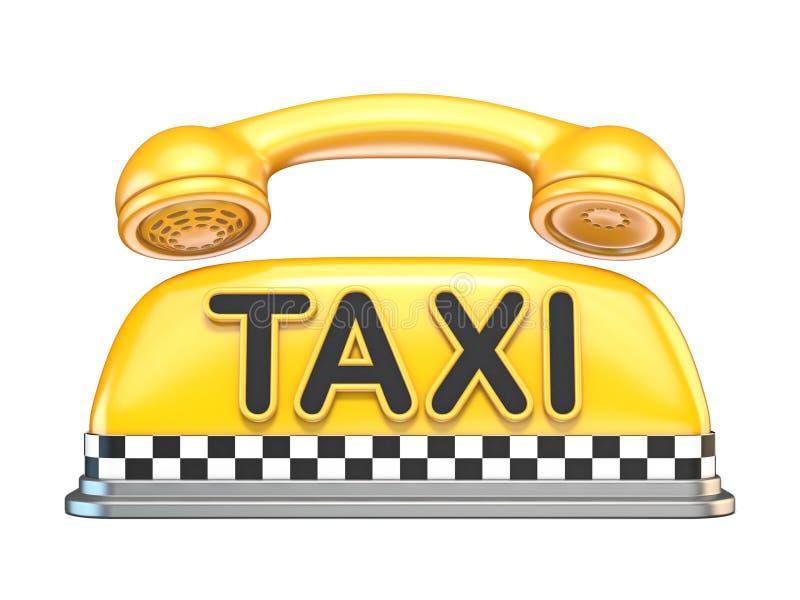 Taxiteken met 3D telefoonzaktelefoon vector illustratie