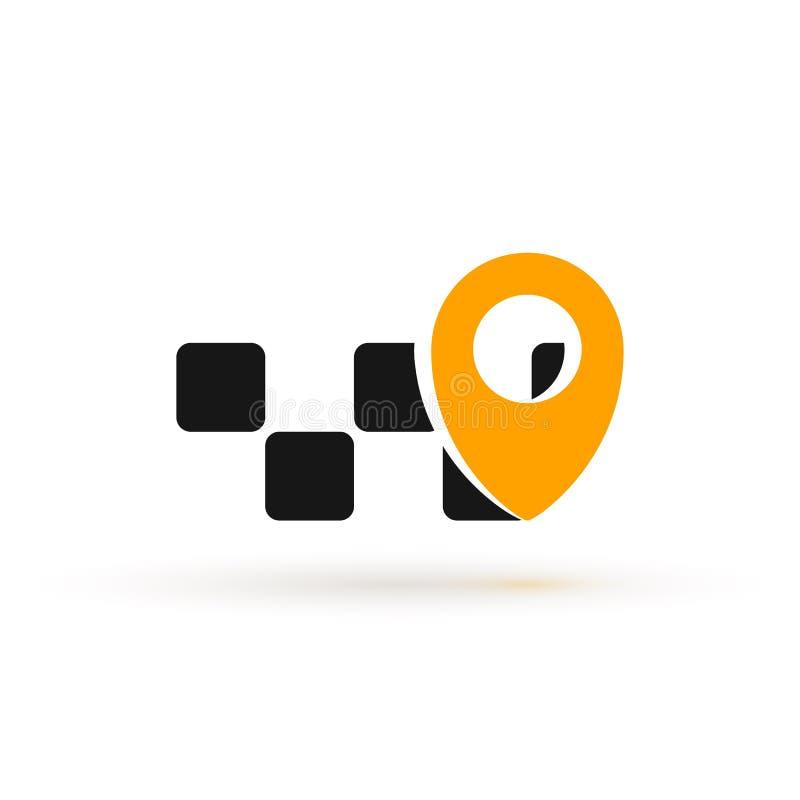 Taxitjänsten - isolerad vektorlogotyp online för mobilapp Cab-logotyp med geo-tagg på vit bakgrund stock illustrationer
