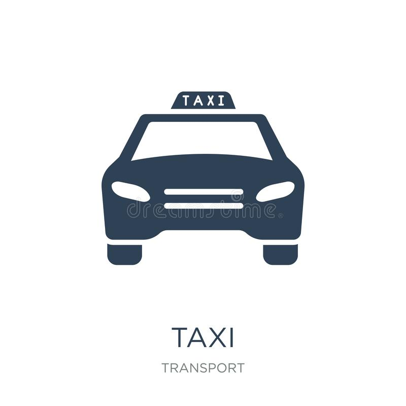 taxitrans.bil från frontal siktssymbol i moderiktig designstil taxitrans.bil från den frontal siktssymbolen som isoleras på vektor illustrationer