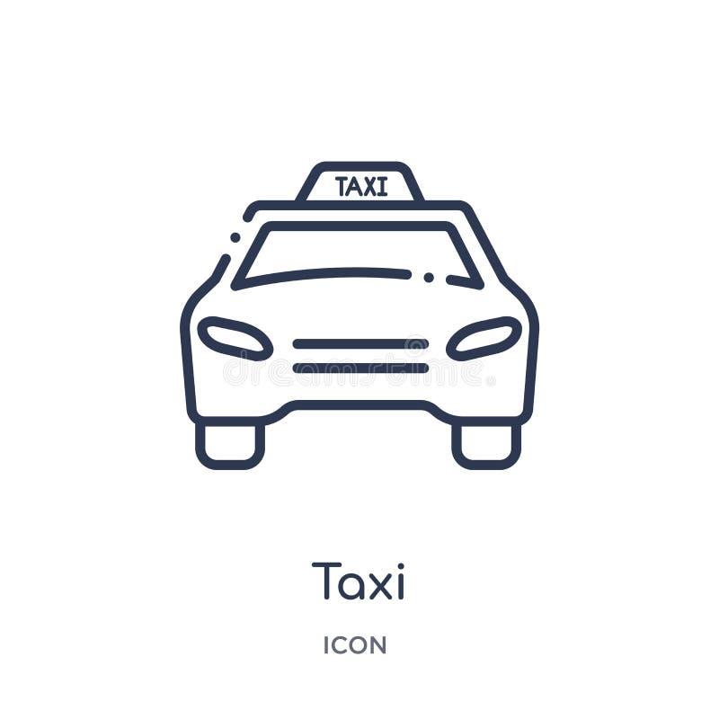 taxitrans.bil från frontal siktssymbol från frontal siktssymbol från transportöversiktssamling Tunn linje taxi stock illustrationer