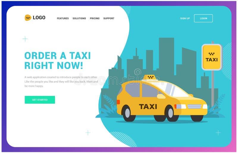 Taxiwebsitemall illustration av en bil på bakgrunden av staden stock illustrationer