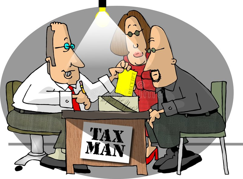 Taxman. This illustration that I created depicts a couple having their taxes done royalty free illustration