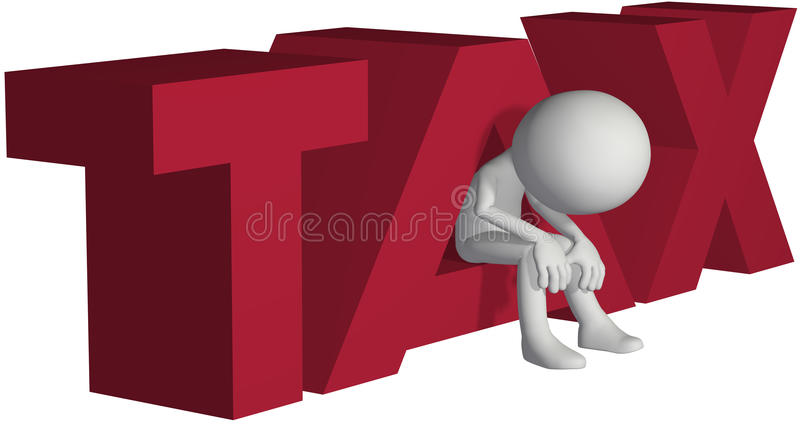 Taxpayer ruined bankrupt by high taxes vector illustration