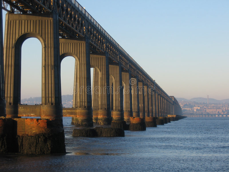 Tay Rail Bridge and Dundee from Fife royalty free stock photography