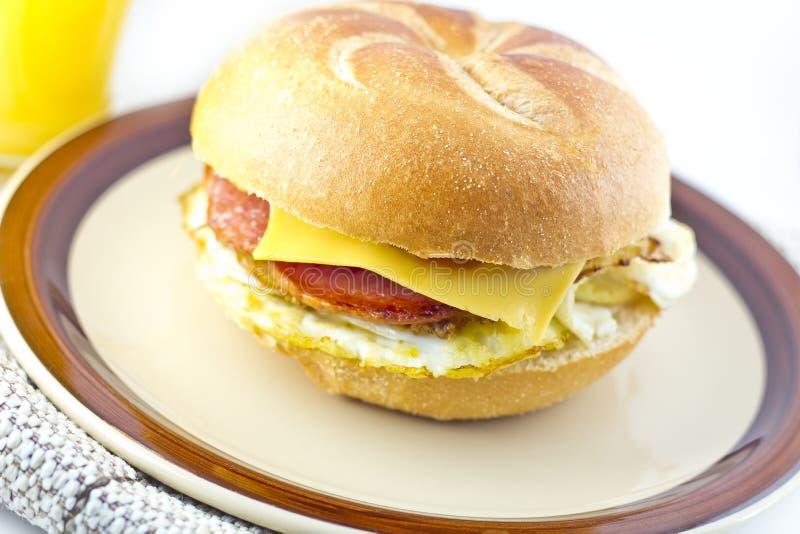 Taylor Ham Breakfast Sandwich imagem de stock