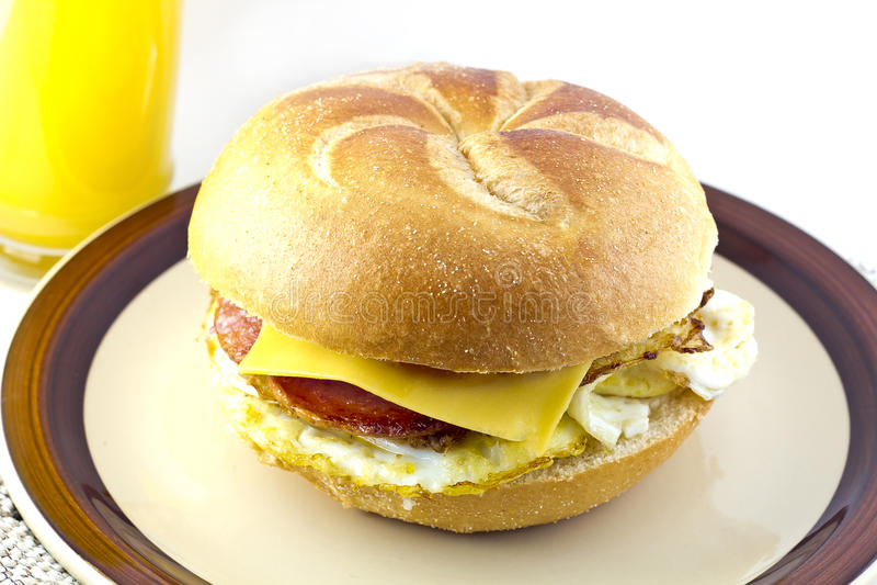 Taylor Ham Breakfast Sandwich imagens de stock