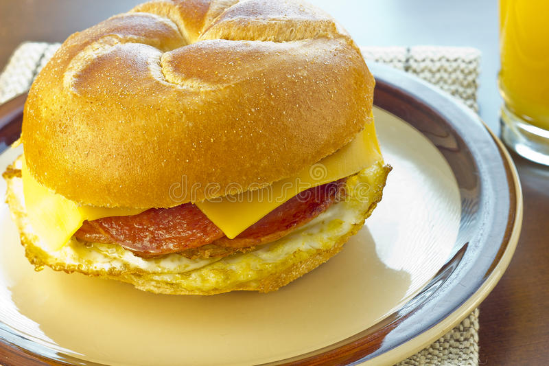 Taylor Ham Breakfast Sandwich imagem de stock royalty free