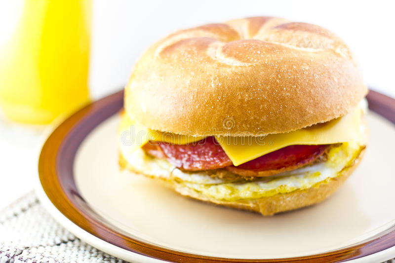 Taylor Ham Breakfast Sandwich foto de stock