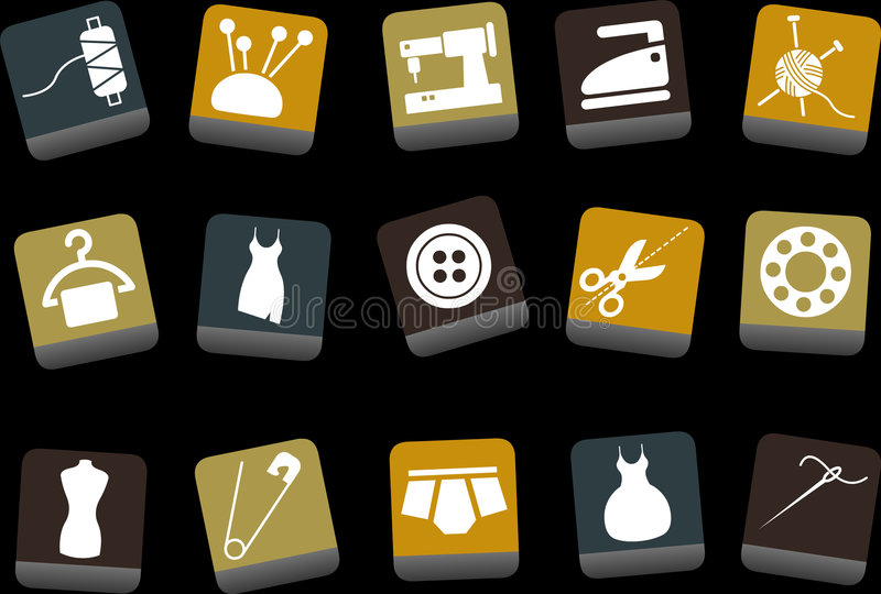 Taylor Icons Set. Vector icons pack - Yellow-Brown-Blue Series, taylor collection stock illustration