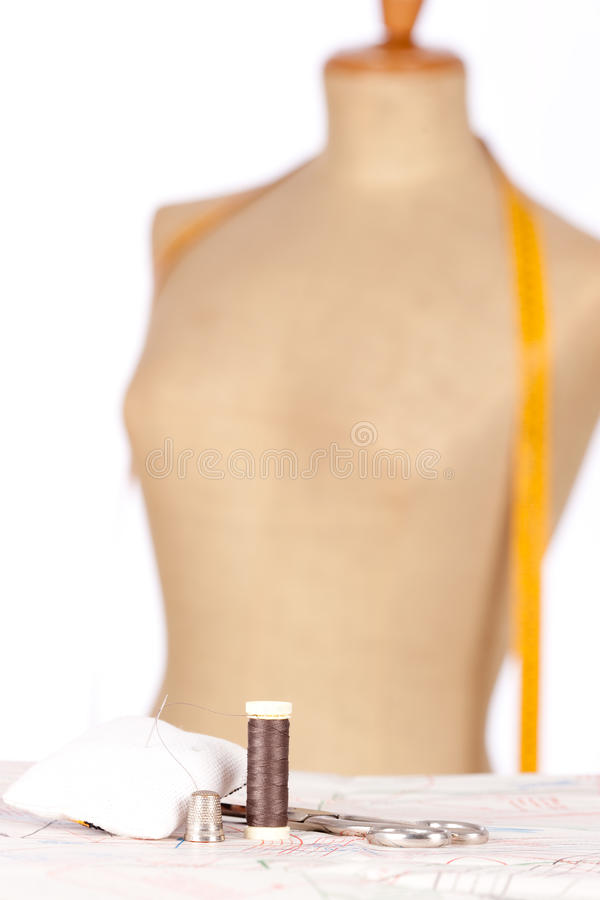 Taylor mannequin with tape measure royalty free stock image