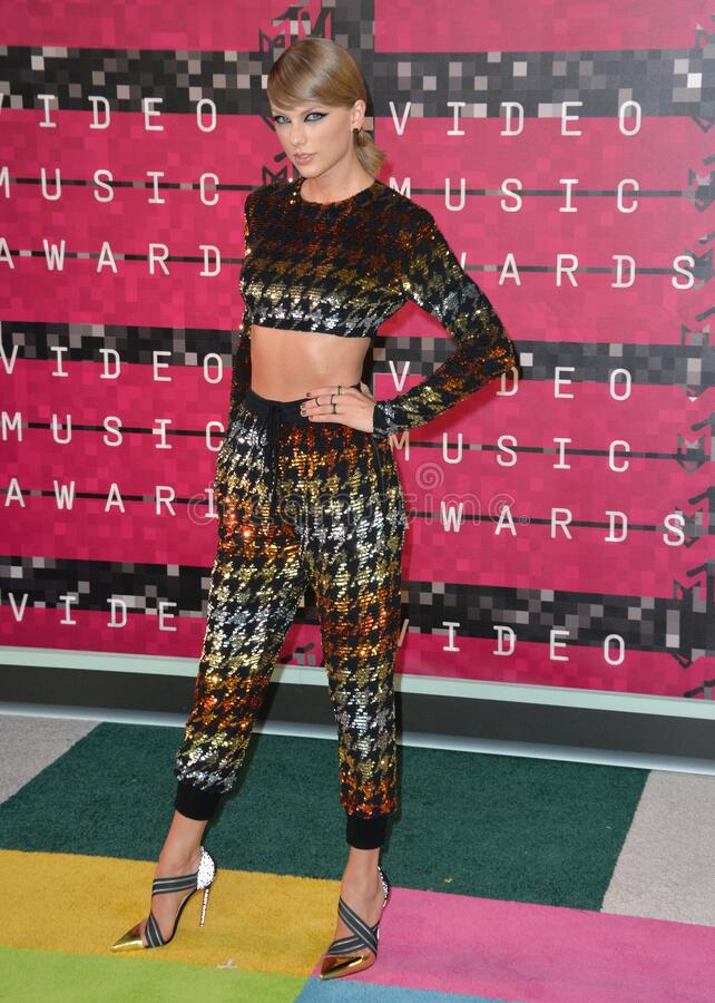Taylor Swift. LOS ANGELES, CA - AUGUST 30, 2015: Taylor Swift at the 2015 MTV Video Music Awards at the Microsoft Theatre LA Live stock photo