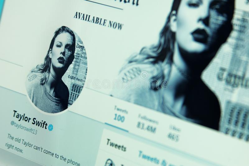 Taylor Swift twitter account royalty free stock image