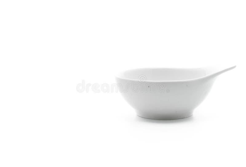 Tazón de fuente de cerámica blanco imagenes de archivo