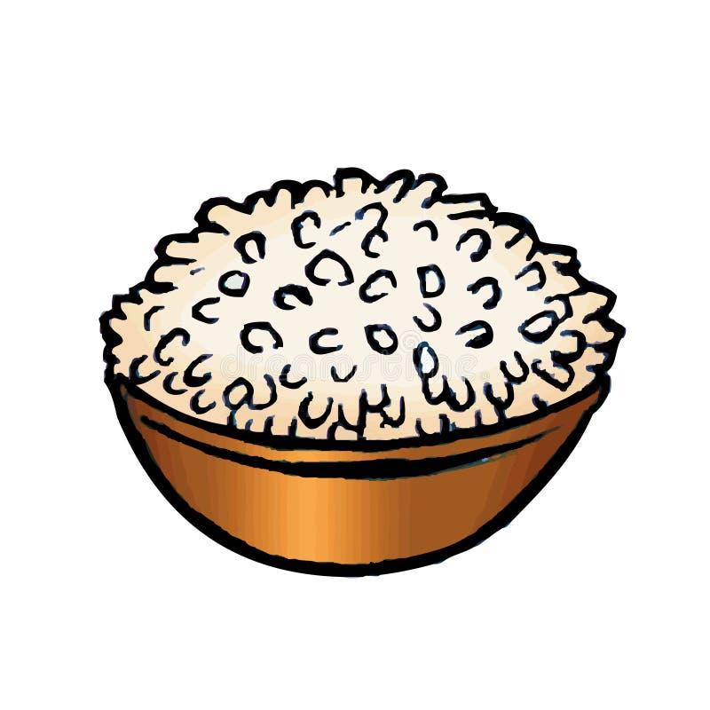 Tazón de fuente de arroz stock de ilustración