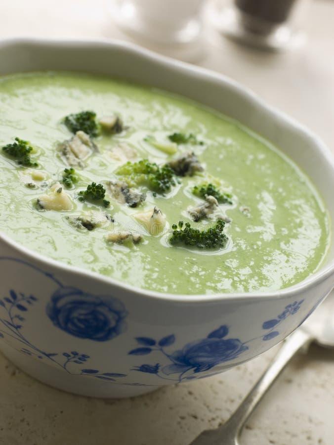 Tazón de fuente de bróculi y de sopa de Stilton imagen de archivo libre de regalías