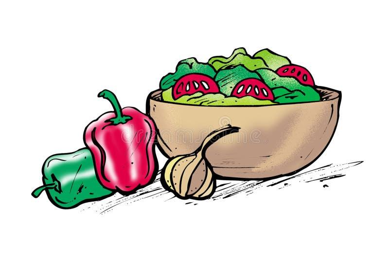 Tazón de fuente de ensalada ilustración del vector