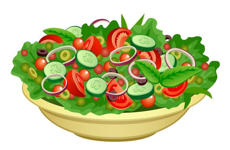 Tazón de fuente de ensalada stock de ilustración