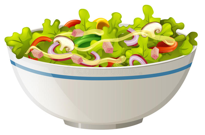 Tazón de fuente de ensalada verde stock de ilustración