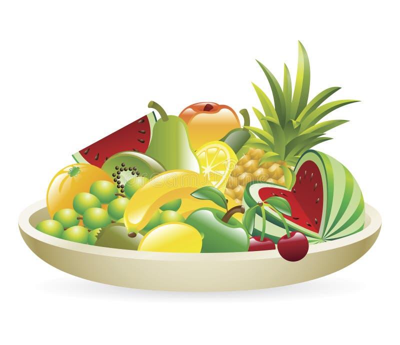 Tazón de fuente de la ilustración de la fruta ilustración del vector
